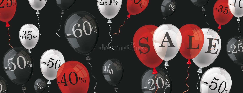 Intestazione del nero di vendita delle percentuali dei palloni illustrazione vettoriale