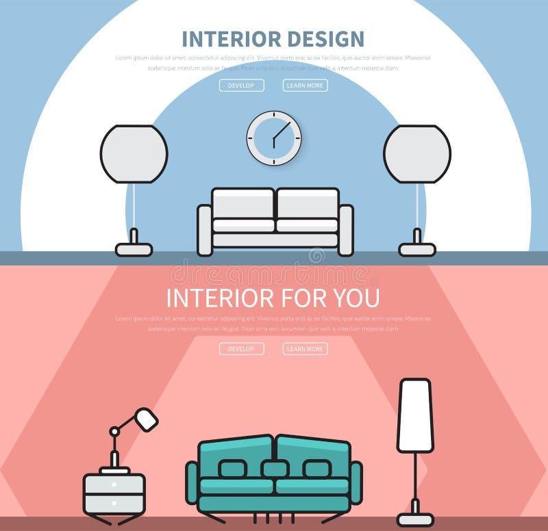 Intestazione del sito Web dei modelli, con interior design in uno stile piano illustrazione di stock