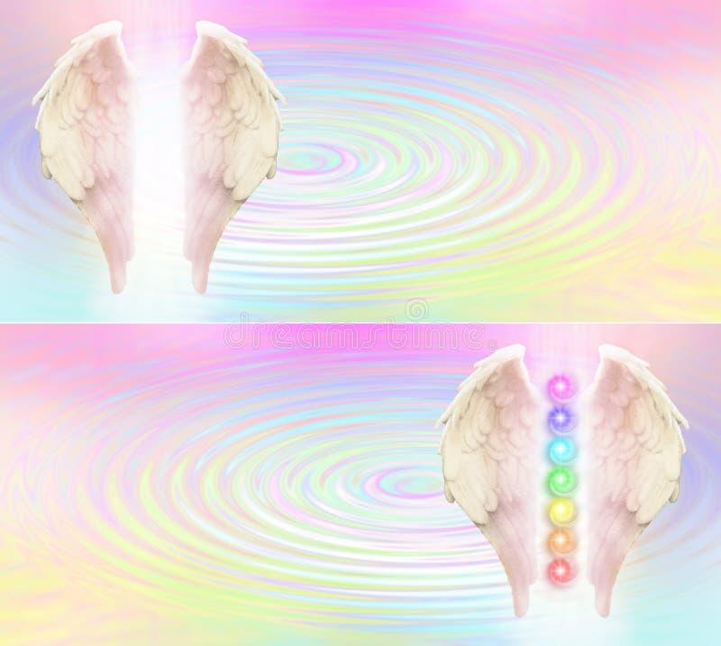 Intestazione del sito Web di Reiki Angel Wings e di sette Chakras illustrazione vettoriale