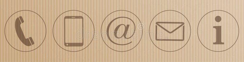 Intestazione delle icone del contatto del cartone illustrazione vettoriale