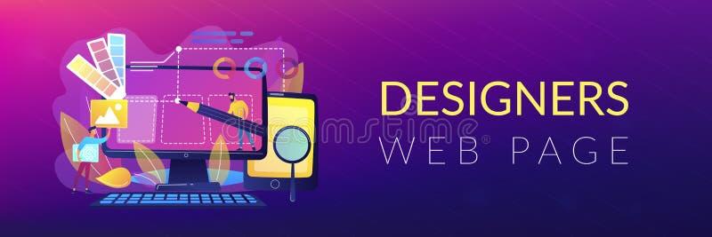 Intestazione di sviluppo di web design o insegna della persona alta un dato numero di piedi illustrazione vettoriale