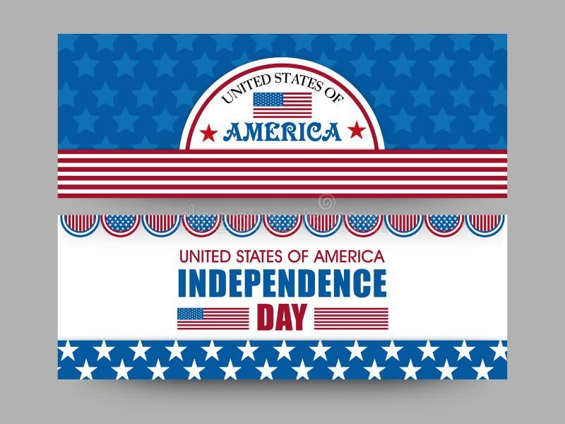 Intestazione di web di celebrazione di festa dell'indipendenza o insieme americana dell'insegna illustrazione vettoriale