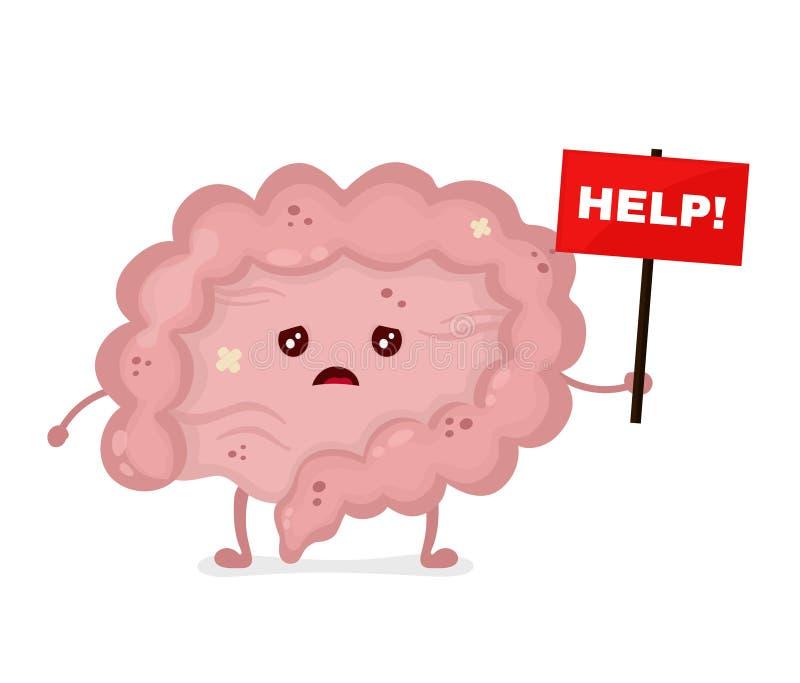 Intestin malade malsain triste avec la plaque signalétique illustration libre de droits