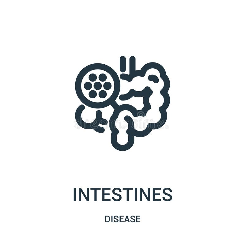 intestines icon vector from disease collection. Thin line intestines outline icon vector illustration. Linear symbol for use on vector illustration