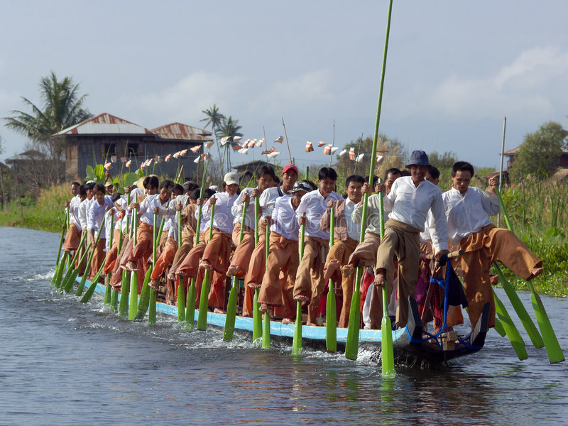intha行程缅甸划船部落 免版税图库摄影