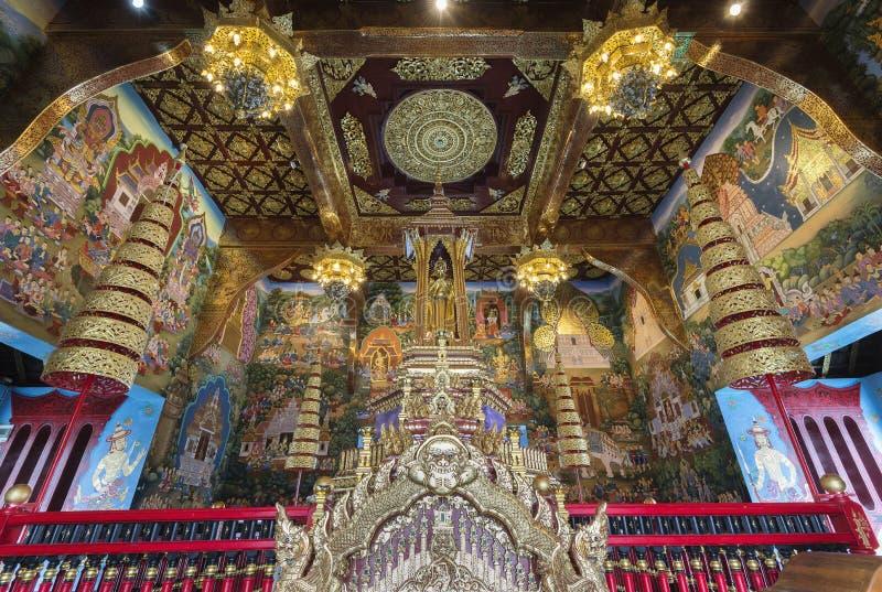 Inthakin或城市柱子寺庙清迈,泰国内部  库存图片