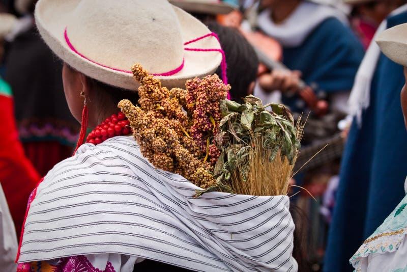 Inti Raymi beröm i Cayambe, Ecuador royaltyfria bilder