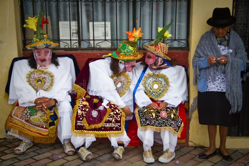 Inti Raymi-celebation in Riobamba, Ecuador stock foto