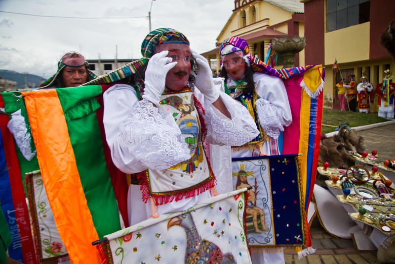 Inti Raymi-celebation in Riobamba, Ecuador royalty-vrije stock afbeelding