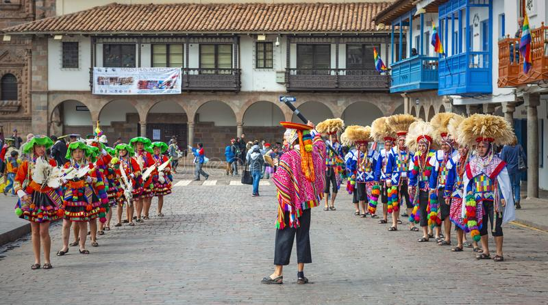 Inti Raymi Celebration i Cusco, Peru royaltyfri foto