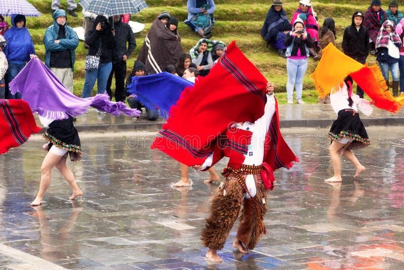 Inti Raymi di celebrazione indigeno non identificato, Inca Festival del Sun in Ingapirca, Ecuador immagine stock libera da diritti