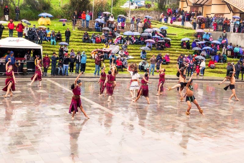 Inti Raymi di celebrazione indigeno non identificato, Inca Festival del Sun in Ingapirca, Ecuador fotografie stock