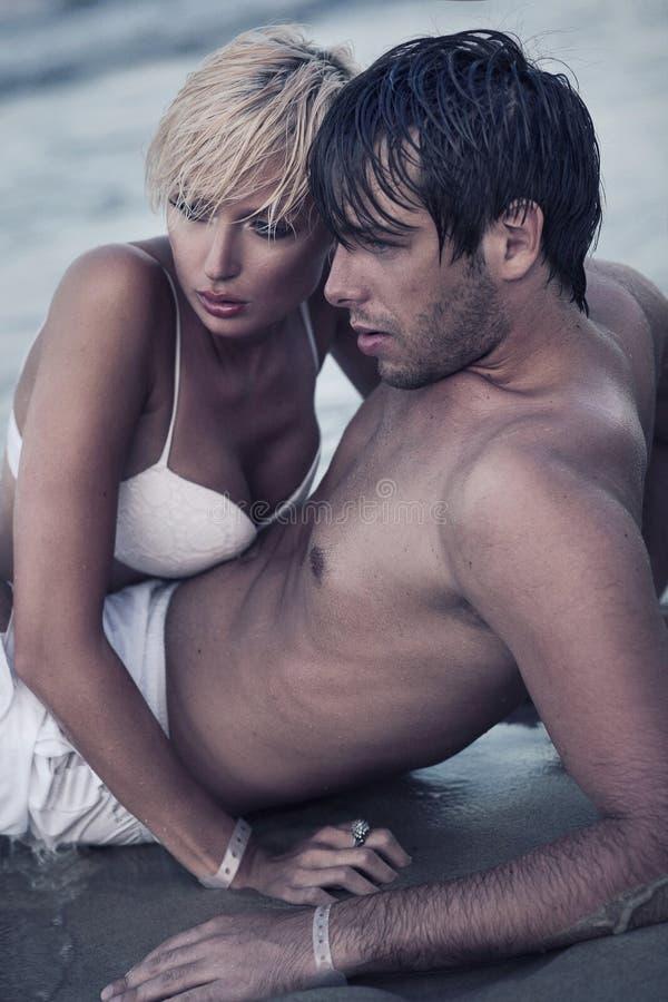 Intimacy on the beach royalty free stock photos