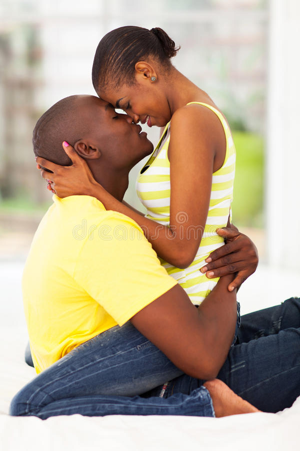 Intimate couple kissing royalty free stock photo