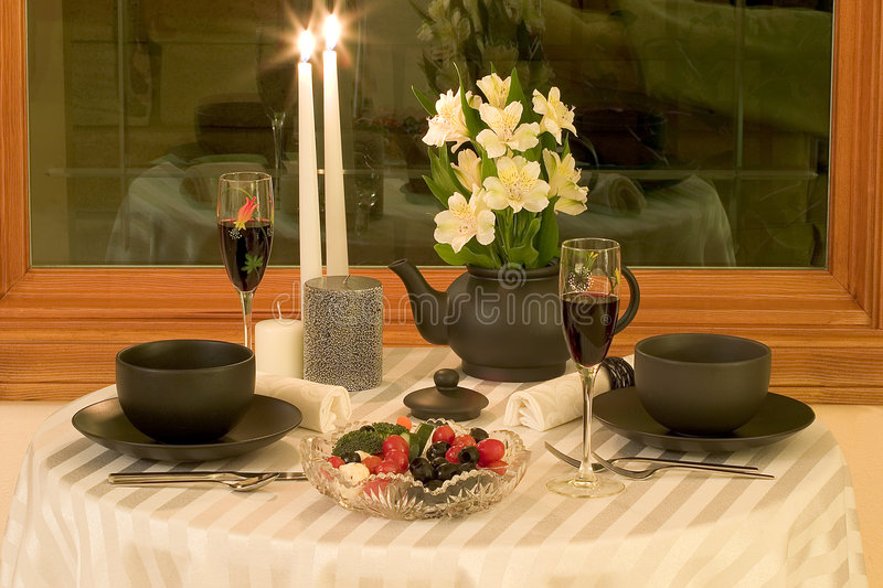 Intimate dining for two stock image