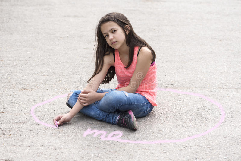 Intimate zone and body language with preteen girl. Selective focus stock photography