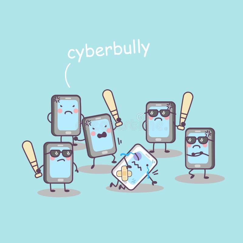 Intimidação bonito do telefone celular dos desenhos animados ilustração stock
