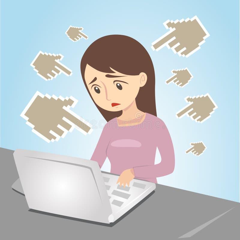 Intimidação do Cyber ilustração royalty free