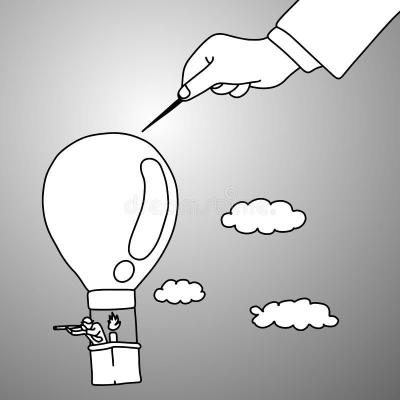 Intimidação do líder seu trabalhador usando a agulha em seu vetor IL do balão ilustração royalty free