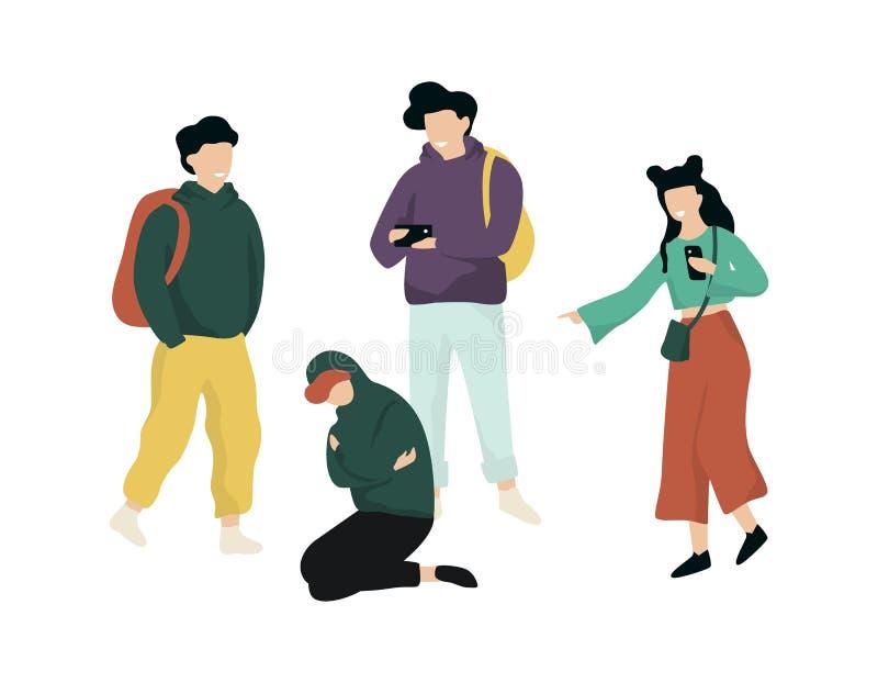 Intimidação na escola Menino adolescente do abuso, comportamento agressivo ilustração royalty free