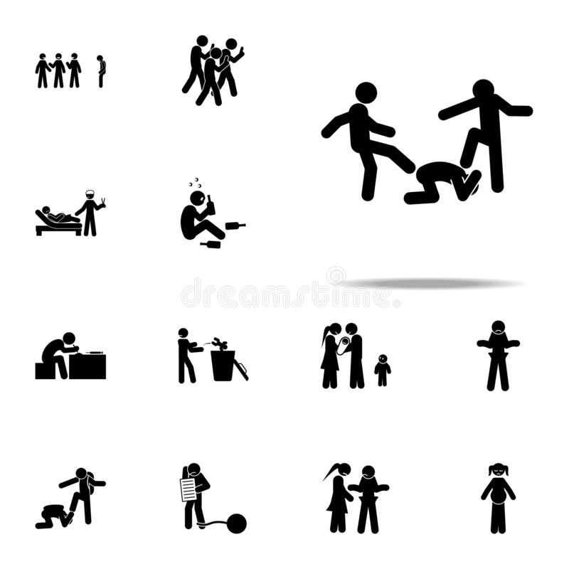 intimidações, ícone da luta Dos ícones sociais das edições da juventude grupo universal para a Web e o móbil ilustração stock