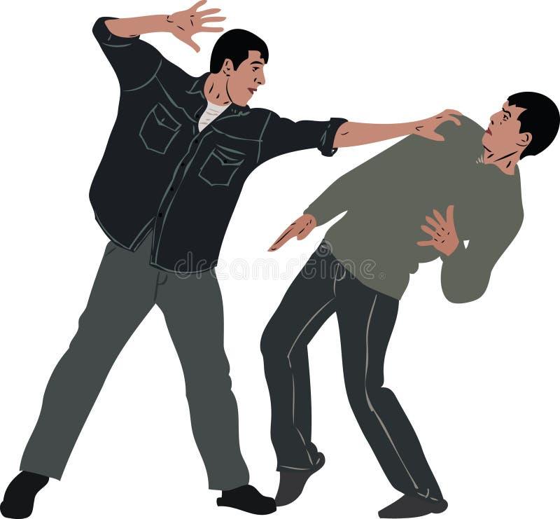 Intimideer kwetst een bescheiden kerel vector illustratie