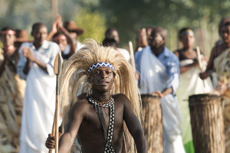 Intore dansare i Rwanda royaltyfria foton