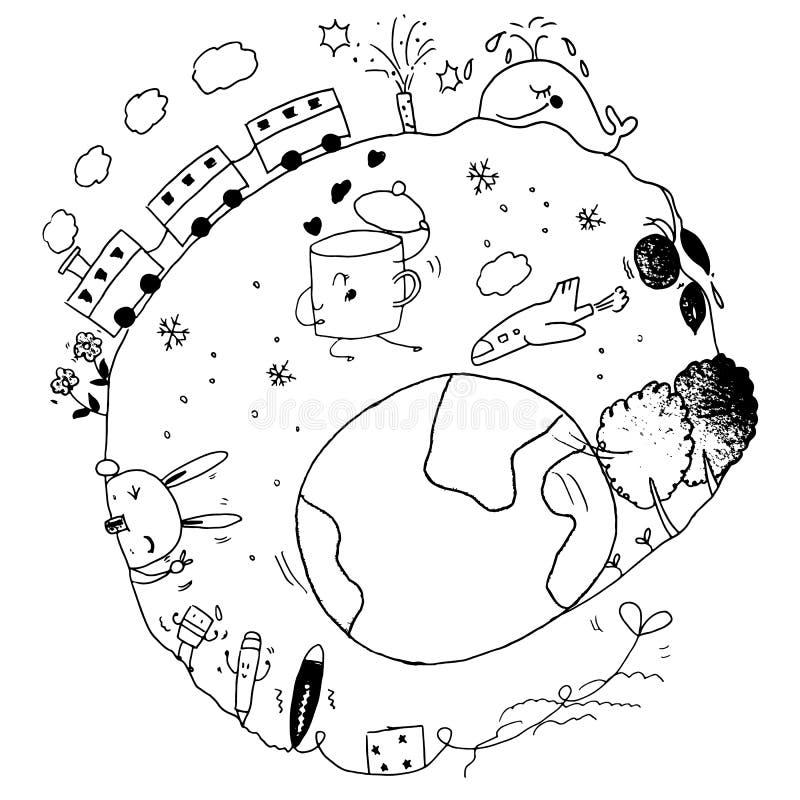 Intorno agli scarabocchi della terra immagine stock