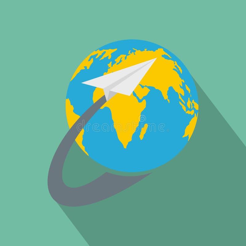 Intorno all'icona del mondo, stile piano illustrazione vettoriale