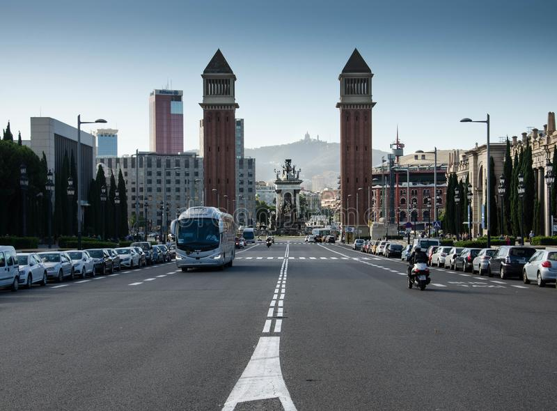 Intorno a Barcellona, interno su Montjuic fotografia stock