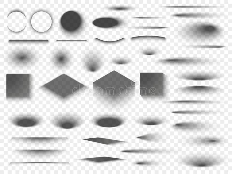 Intorno a e quadrato ombre trasparenti isolate del pavimento Vettore ovale scuro delle tonalità del cerchio e dell'ombra illustrazione vettoriale