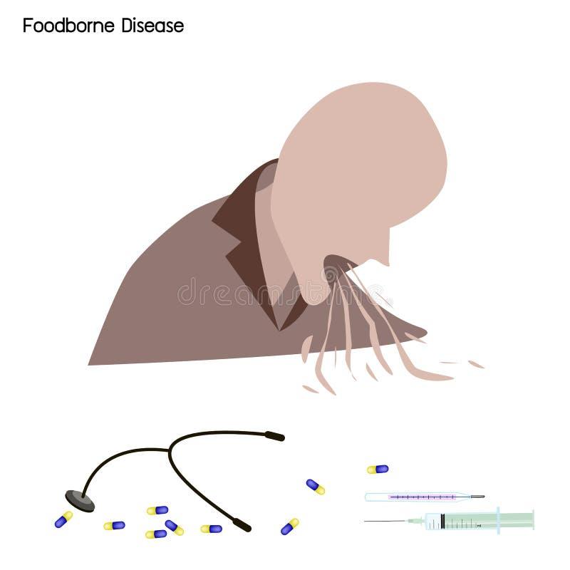 Intoxication du maladie ou alimentaire portée par les aliments avec le traitement médical illustration de vecteur