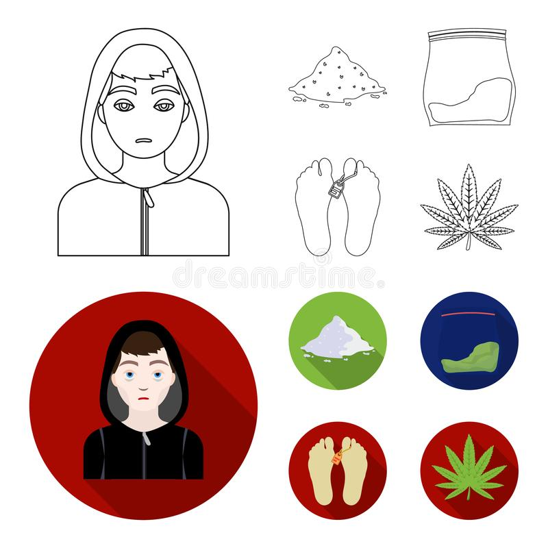 Intoxiqué, cocaïne, marijuana, cadavre Icônes réglées de collection de drogue dans le contour, Web plat d'illustration d'actions  illustration stock
