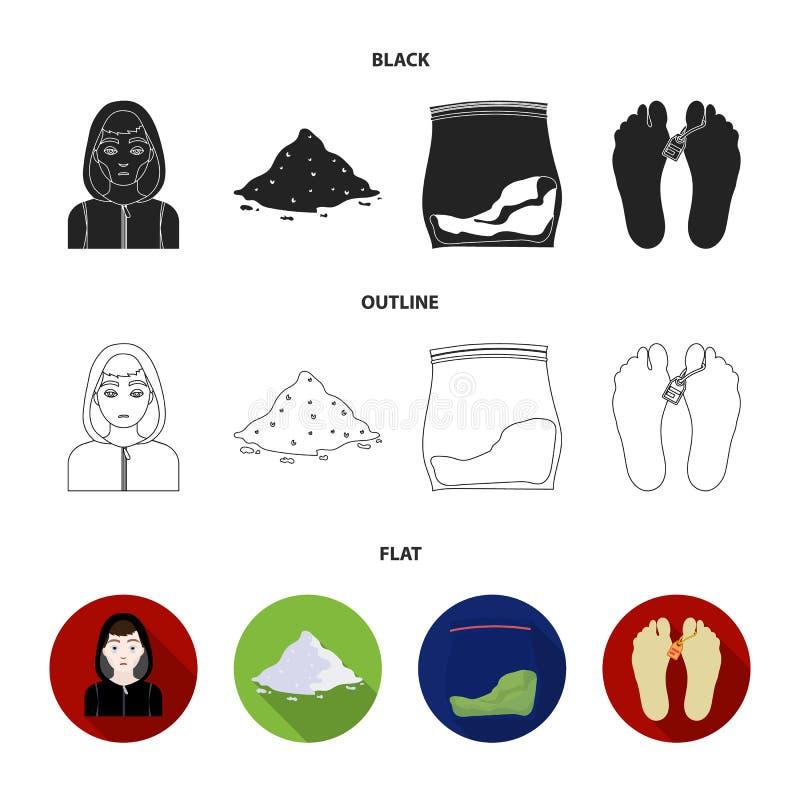 Intoxiqué, cocaïne, marijuana, cadavre Les icônes réglées de collection de drogue dans le style de bande dessinée dirigent le Web illustration libre de droits