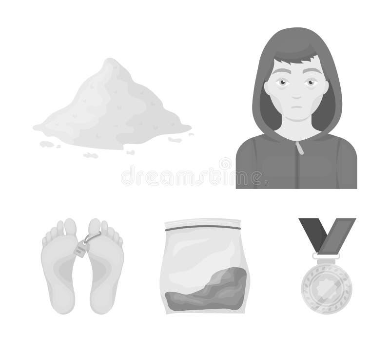 Intoxiqué, cocaïne, marijuana, cadavre Les icônes réglées de collection de drogue dans le style monochrome dirigent le Web couran illustration libre de droits