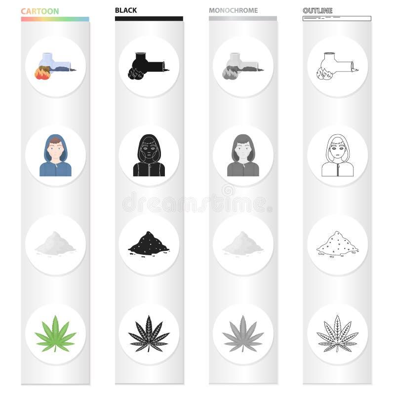 Intoxiqué de tube de tabagisme, cocaïne, le visage d'un toxicomane, une feuille de cannabis Les drogues ont placé des icônes de c illustration de vecteur