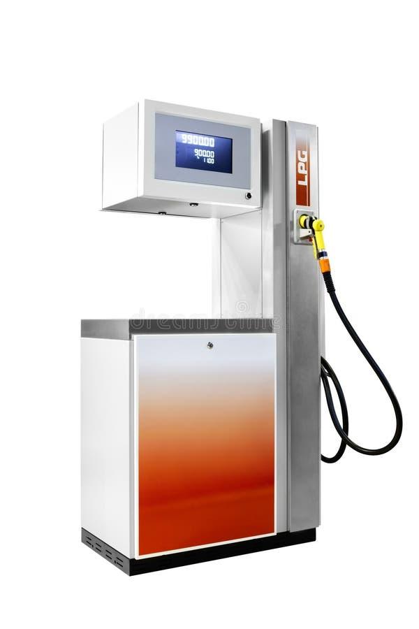 Intoxiquez la station service liquide de pétrole de lpg d'isolement sur le fond blanc image stock