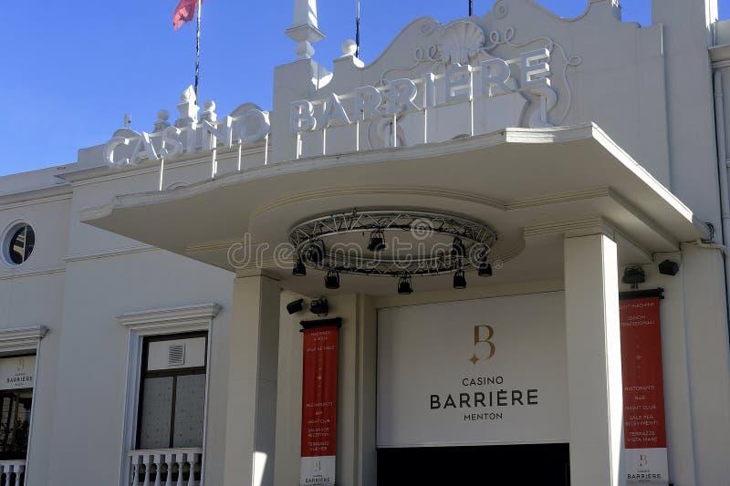 Inträde till kasinot i Barriere i staden Menton på den franska Riviera royaltyfri fotografi