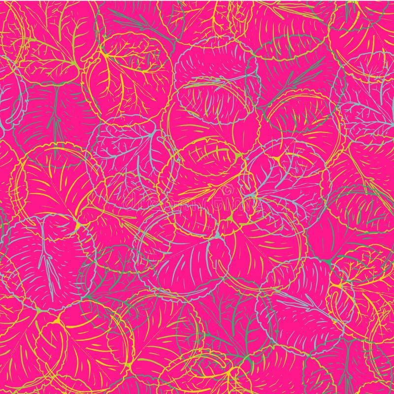 Intrépido y colorido abstractos waterlily o modelo inconsútil del vector de las hojas de la flor de loto en una línea estilo dibu stock de ilustración