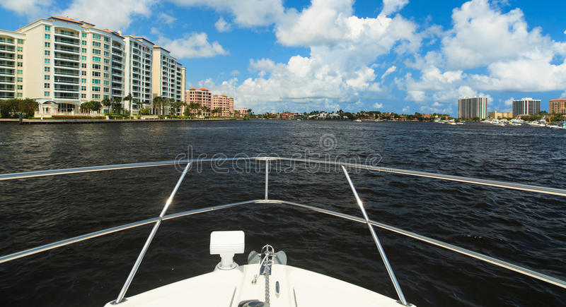 Intracoastal Waterway. View of the Fort Lauderdale Intracoastal Waterway from a yacht stock photography