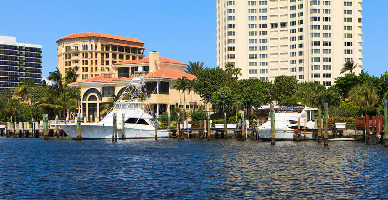 Intracoastal Waterway. View of the Fort Lauderdale Intracoastal Waterway from a yacht royalty free stock image