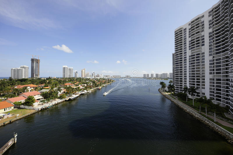 Intracoastal Waterway. Aerial image of the Intracoastal Waterway Aventura Florida royalty free stock photo