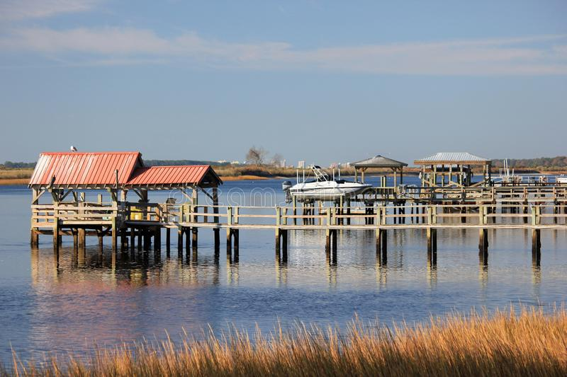 Intracoastal Waterway boat docks on a sunny day. Boat docks along the North Carolina Intracoastal Waterway in Sunset Beach stock photography
