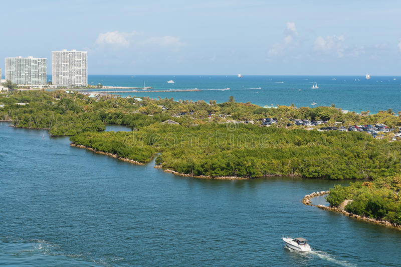 Intracoastal Waterway. Boats on the Intracoastal Waterway, Fort Lauderdale, Florida stock image