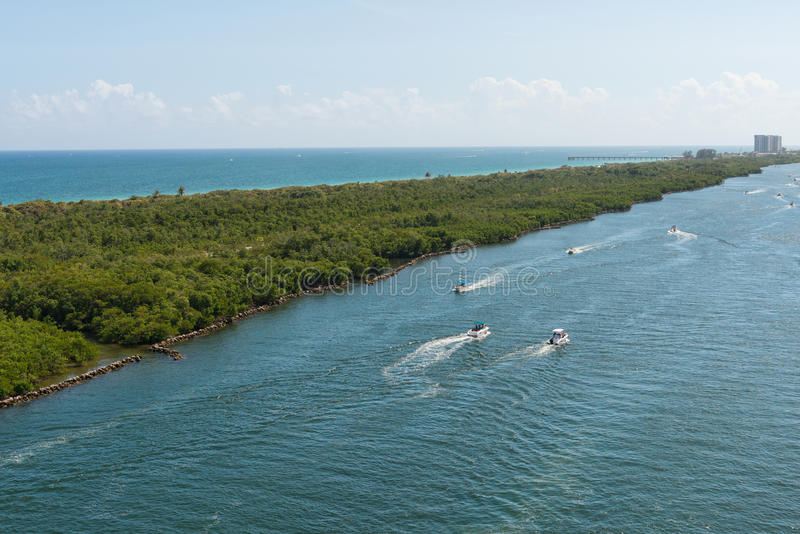 Intracoastal Waterway. Boats on the Intracoastal Waterway, Fort Lauderdale, Florida stock photography