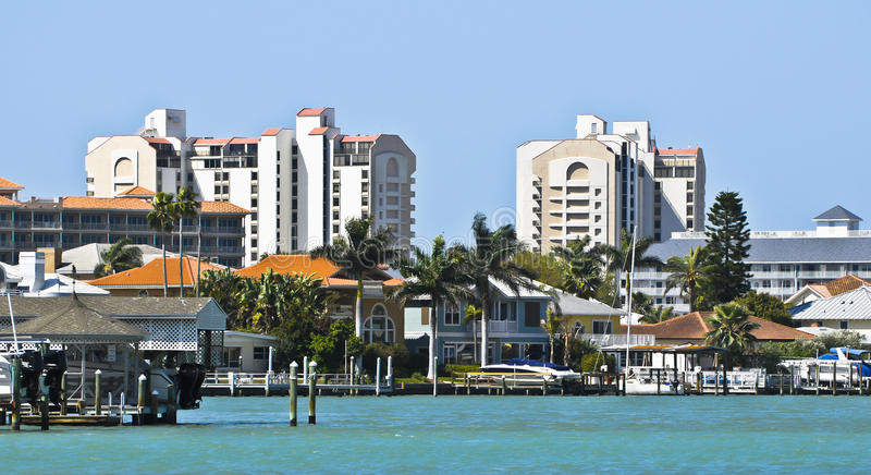 Intracoastal Waterway, Florida. A view of the piers, homes, and high rise buildings along the Intracoastal Waterway, in the Tampa Bay area, on the west coast of stock photos