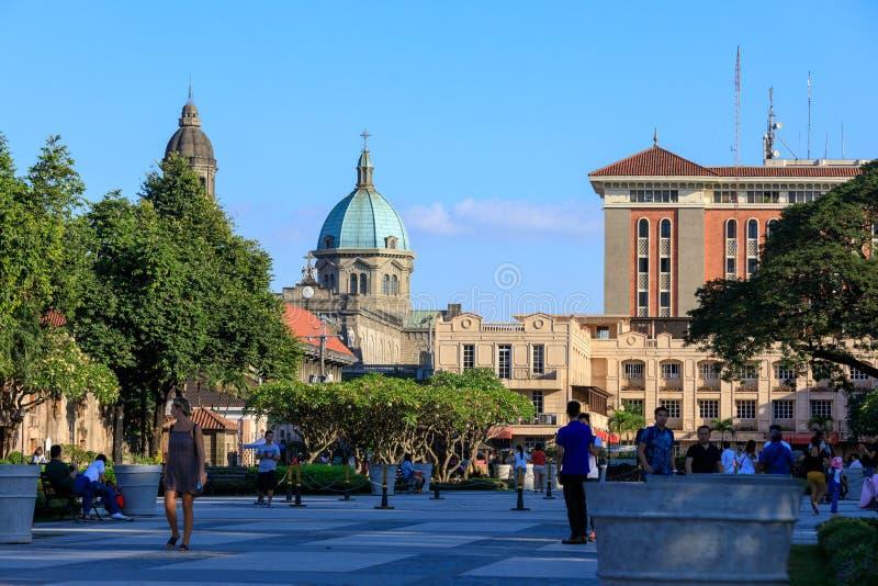 Intramuros områdesbyggnadssikt från spansk kolonial fortSantiago i Manila, Filippinerna arkivbilder