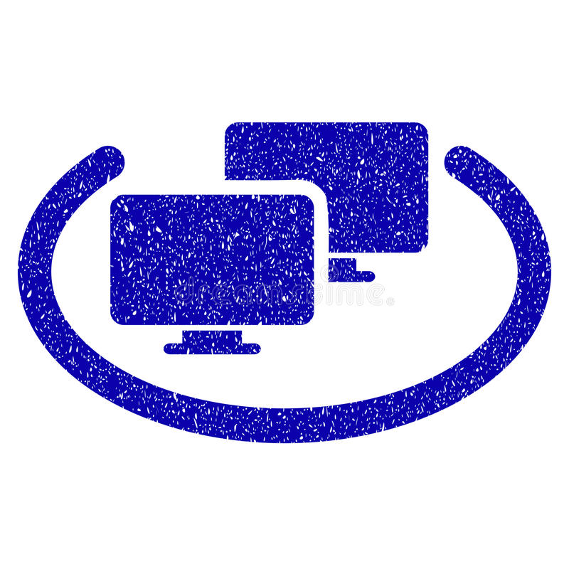 Intranet Computers Icon Grunge Watermark. Grunge Intranet Computers rubber seal stamp watermark. Icon symbol with grunge design and dirty texture. Unclean vector stock illustration