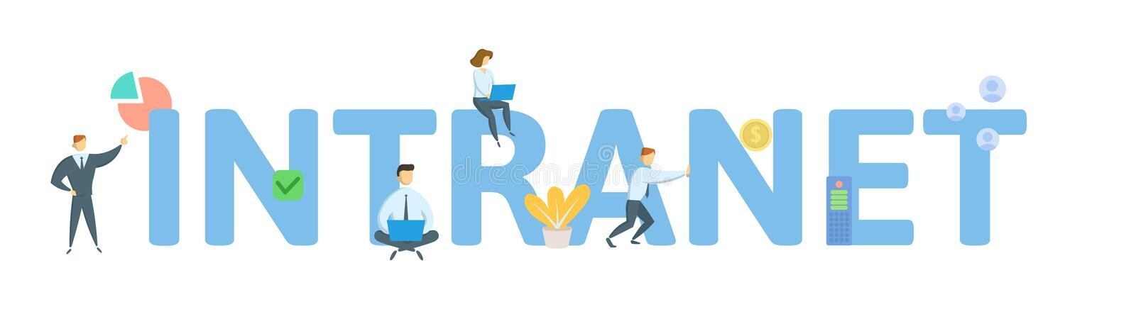 INTRANET. Concept with people, letters and icons. Flat vector illustration. Isolated on white background. INTRANET. Concept with people, letters and icons stock illustration