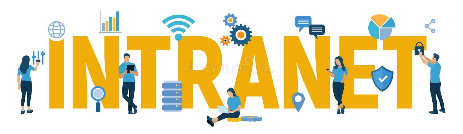 INTRANET. Global Network Connection Technology. Intranet Business Corporate communication document management system dms. Business. Team. Vector illustration stock illustration